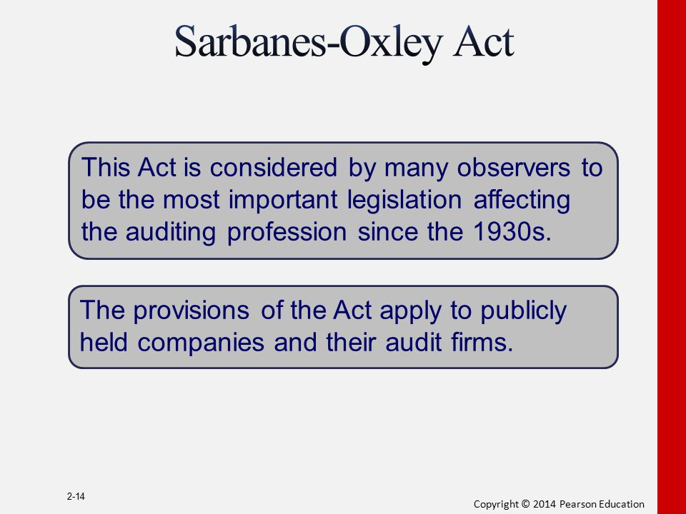 Copyright © 2014 Pearson Education 2-14 This Act is considered by many observers to be the most important legislation affecting the auditing professio