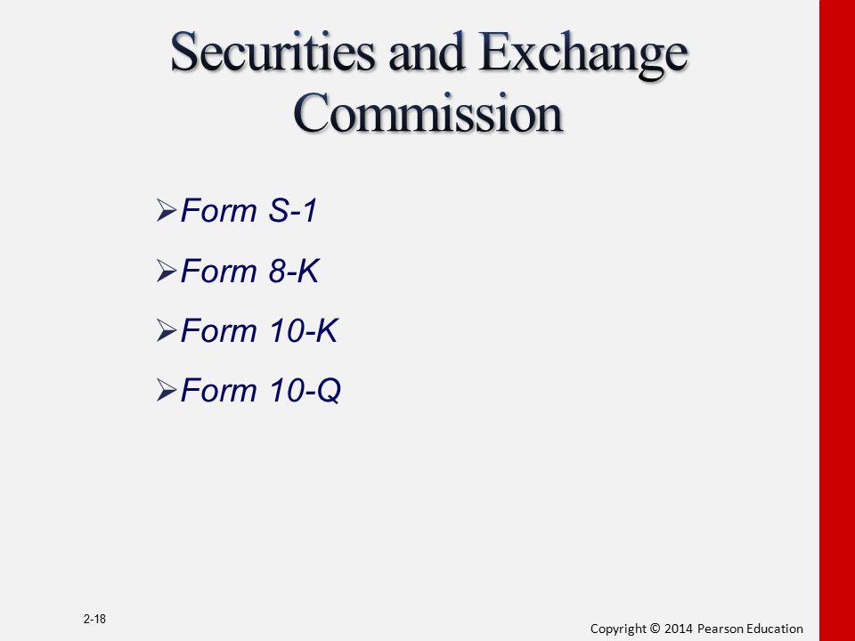 Copyright © 2014 Pearson Education 2-18  Form S-1  Form 8-K  Form 10-K  Form 10-Q