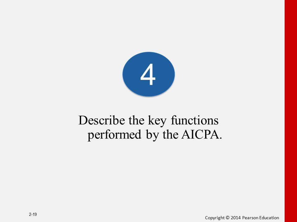Copyright © 2014 Pearson Education Describe the key functions performed by the AICPA. 2-19 4 4