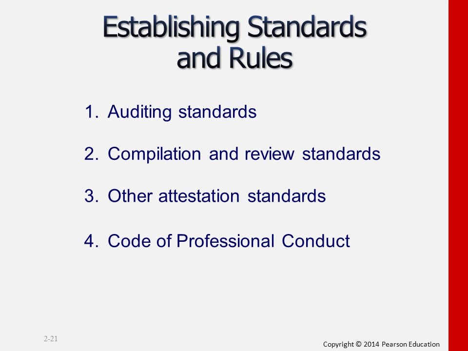 Copyright © 2014 Pearson Education 2-21 1.Auditing standards 2.Compilation and review standards 3.Other attestation standards 4.Code of Professional C