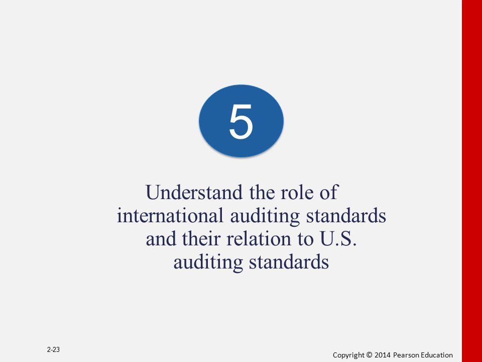 Copyright © 2014 Pearson Education Understand the role of international auditing standards and their relation to U.S. auditing standards 2-23 5 5