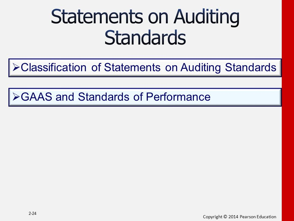Copyright © 2014 Pearson Education 2-24  Classification of Statements on Auditing Standards  GAAS and Standards of Performance