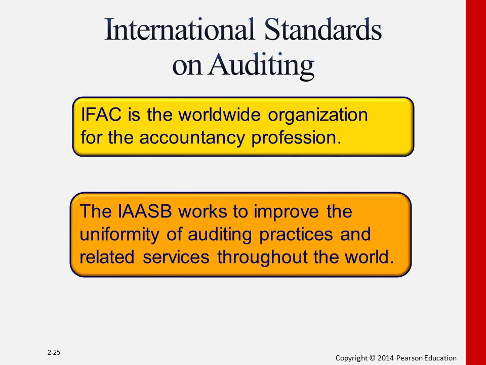 Copyright © 2014 Pearson Education 2-25 IFAC is the worldwide organization for the accountancy profession. The IAASB works to improve the uniformity o