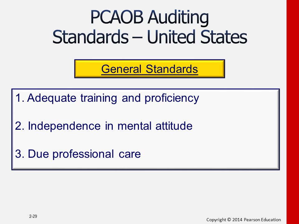 Copyright © 2014 Pearson Education 2-29 General Standards 1. Adequate training and proficiency 2. Independence in mental attitude 3. Due professional