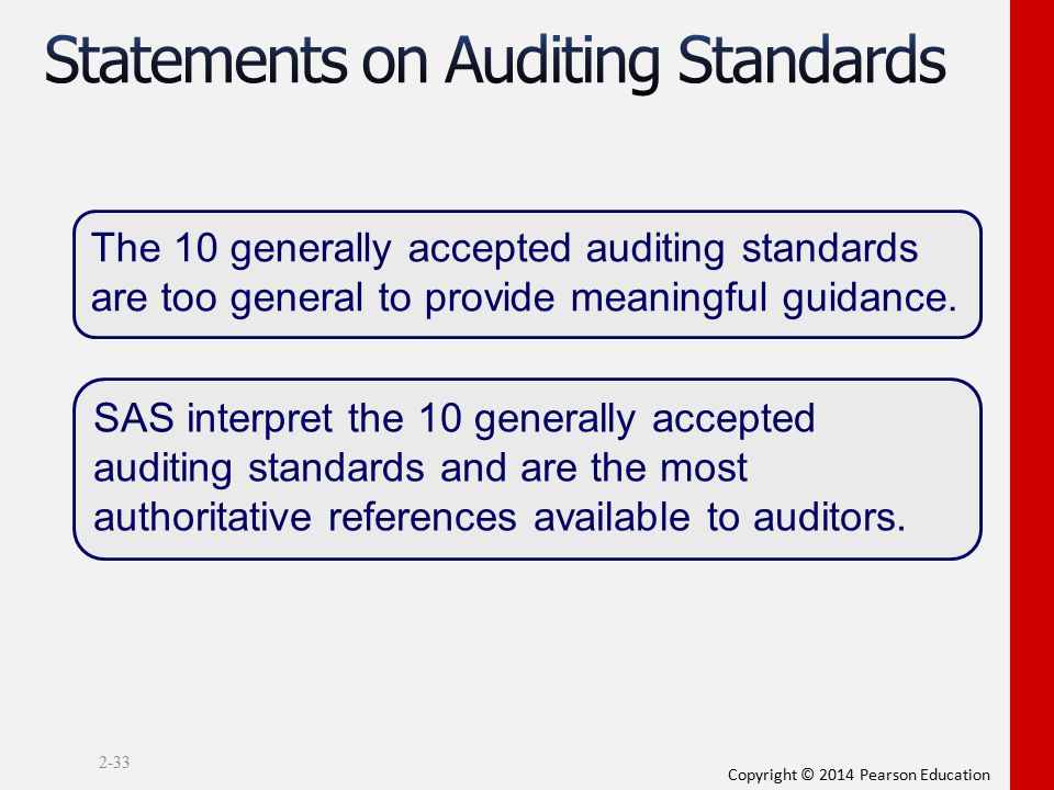 Copyright © 2014 Pearson Education 2-33 The 10 generally accepted auditing standards are too general to provide meaningful guidance. SAS interpret the