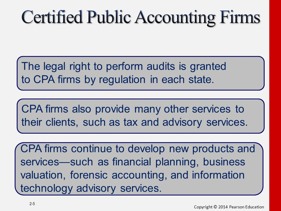 Copyright © 2014 Pearson Education 2-5 The legal right to perform audits is granted to CPA firms by regulation in each state. CPA firms also provide m