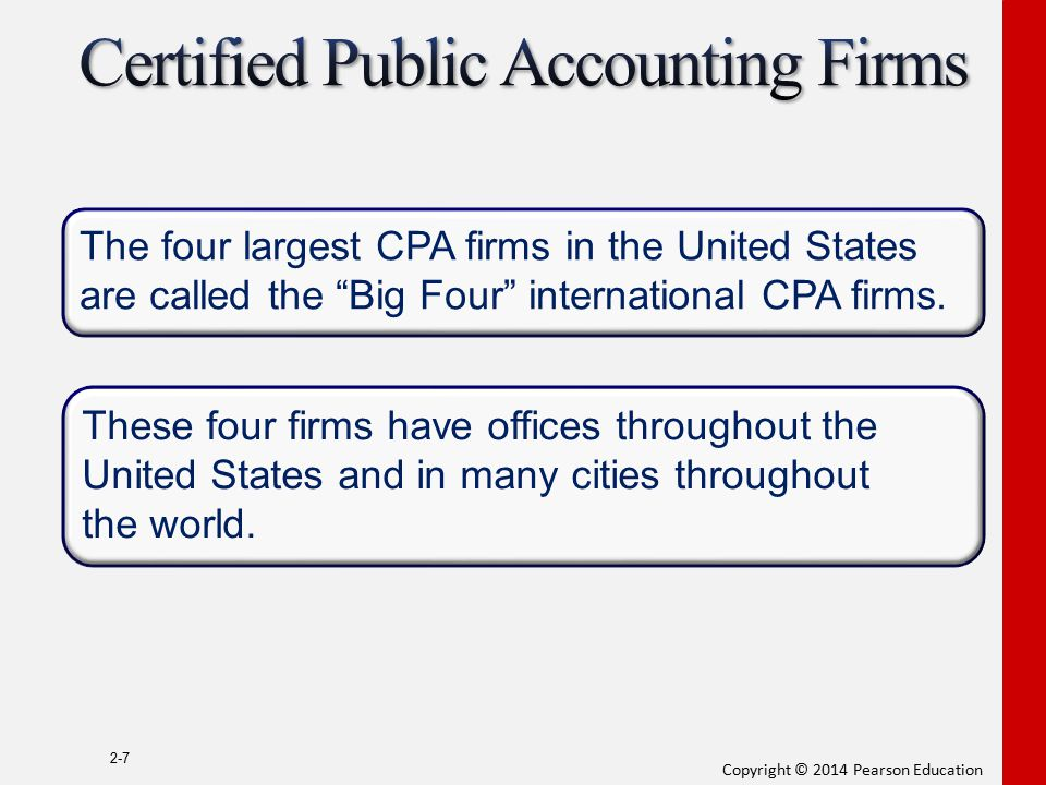 """Copyright © 2014 Pearson Education 2-7 The four largest CPA firms in the United States are called the """"Big Four"""" international CPA firms. These four f"""