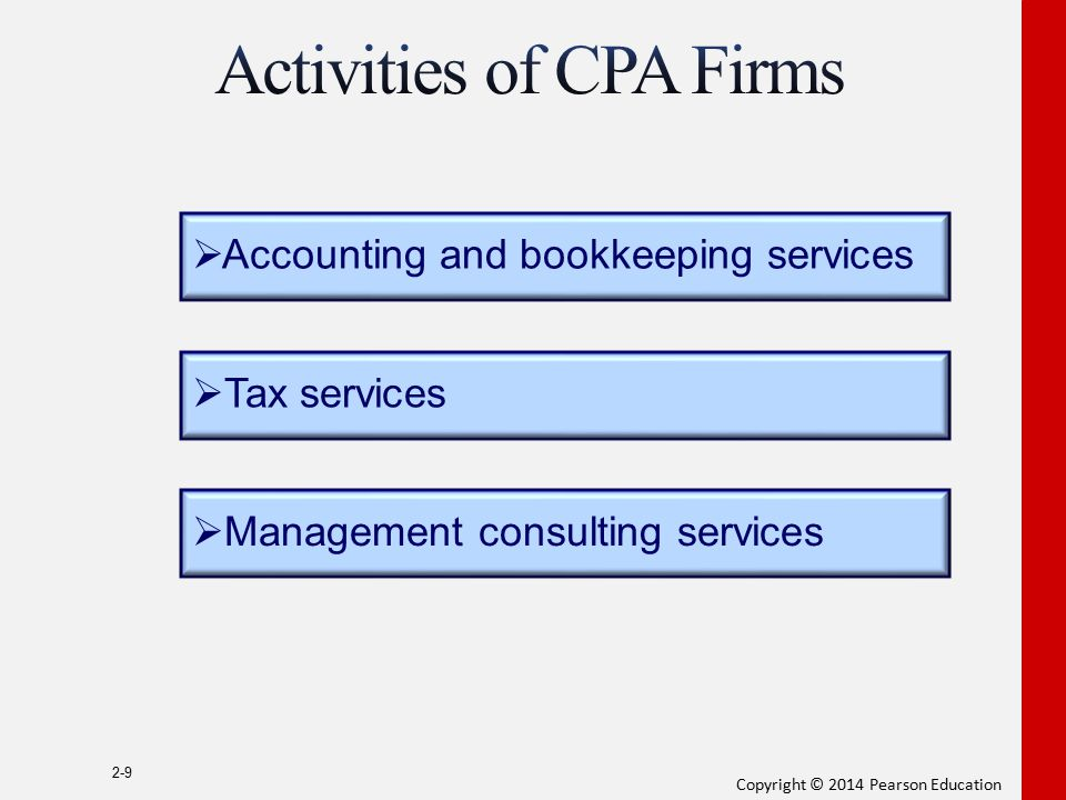 Copyright © 2014 Pearson Education 2-9  Accounting and bookkeeping services  Tax services  Management consulting services