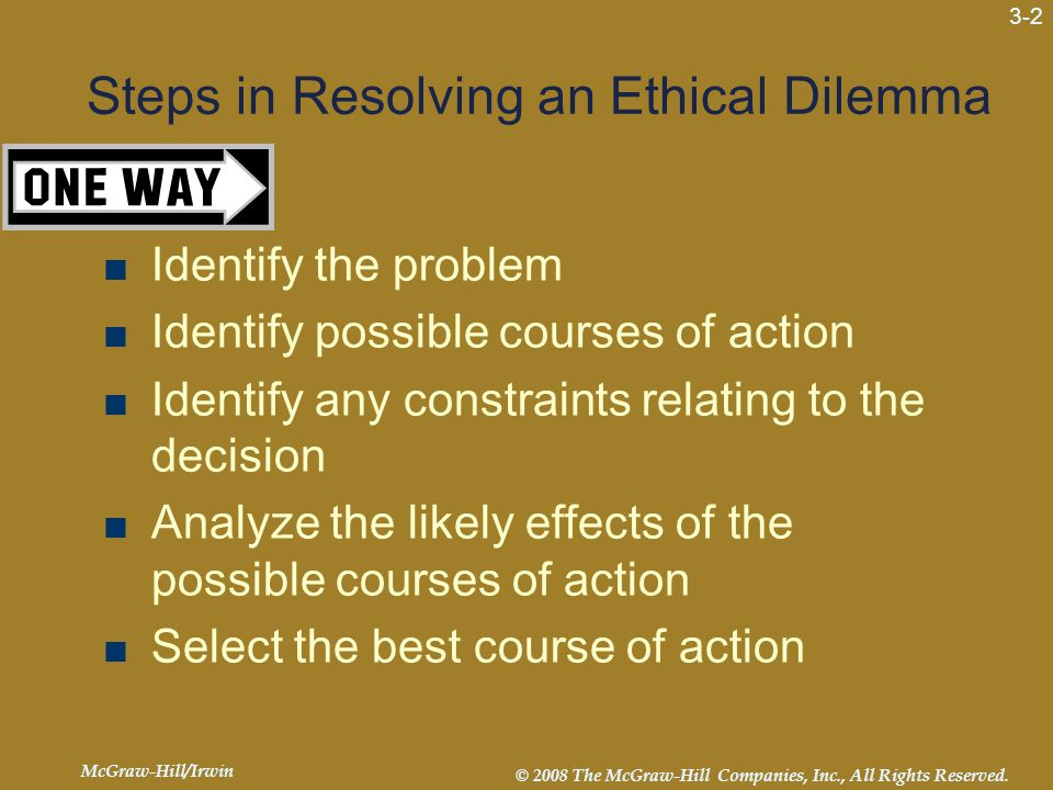 McGraw-Hill/Irwin © 2008 The McGraw-Hill Companies, Inc., All Rights Reserved. 3-2 Steps in Resolving an Ethical Dilemma  Identify the problem  Iden