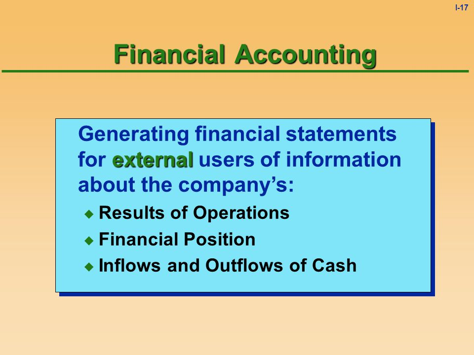 I-16 Two Types of Accounting  Financial Accounting  Managerial Accounting  Financial Accounting  Managerial Accounting