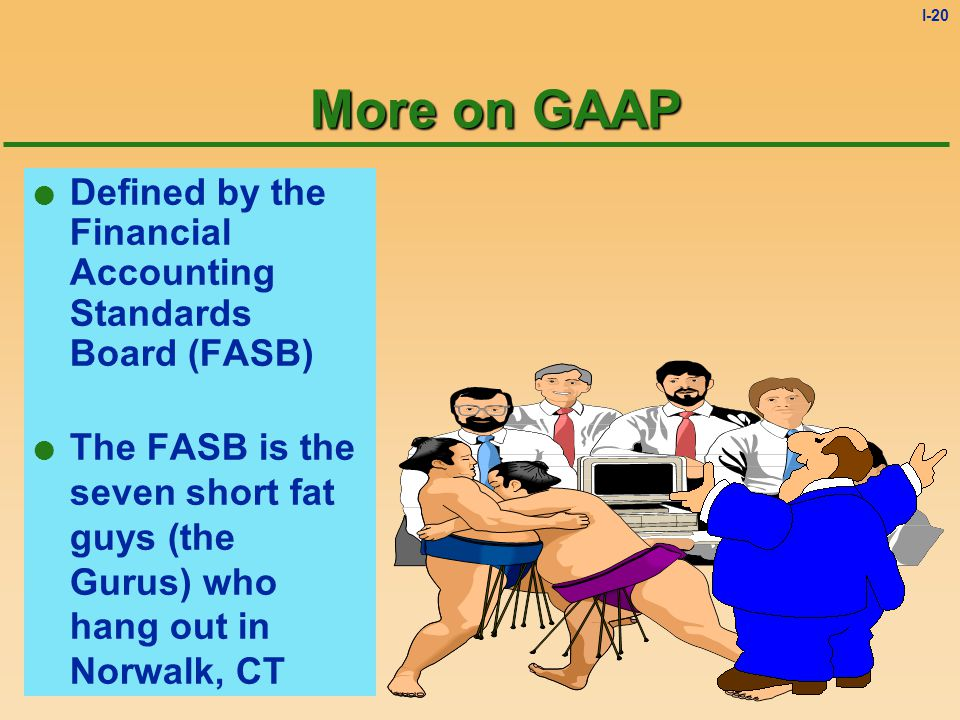 I-19 Generally Accepted Accounting Principles (GAAP) l Common set of accounting rules followed by all public businesses. u Required by the Securities