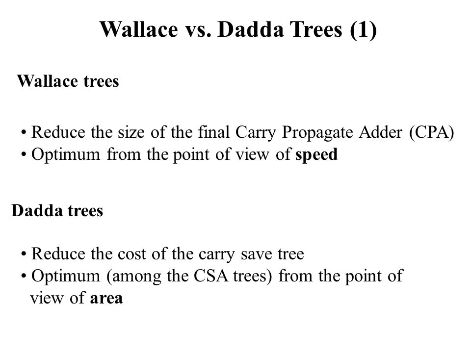 Wallace vs. Dadda Trees (1) Wallace trees Dadda trees Reduce the size of the final Carry Propagate Adder (CPA) Optimum from the point of view of speed