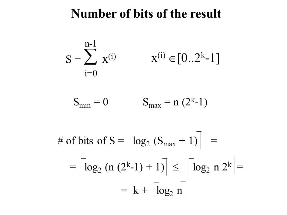 Number of bits of the result S =  x (i) i=0 n-1 x (i)  [0..2 k -1] S max = n (2 k -1)S min = 0 # of bits of S = log 2 (S max + 1)= = log 2 (n (2 k -