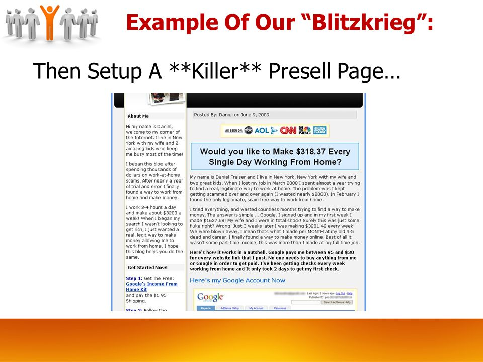 Then Setup A **Killer** Presell Page… Example Of Our Blitzkrieg :