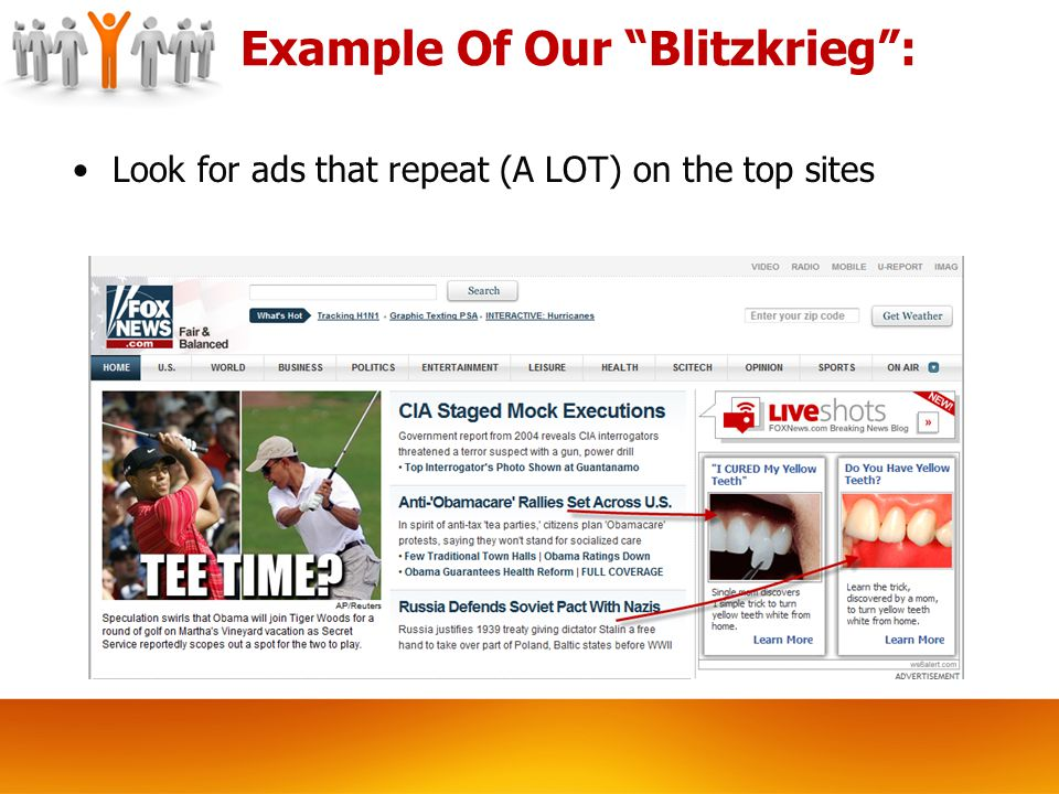 Example Of Our Blitzkrieg : Look for ads that repeat (A LOT) on the top sites