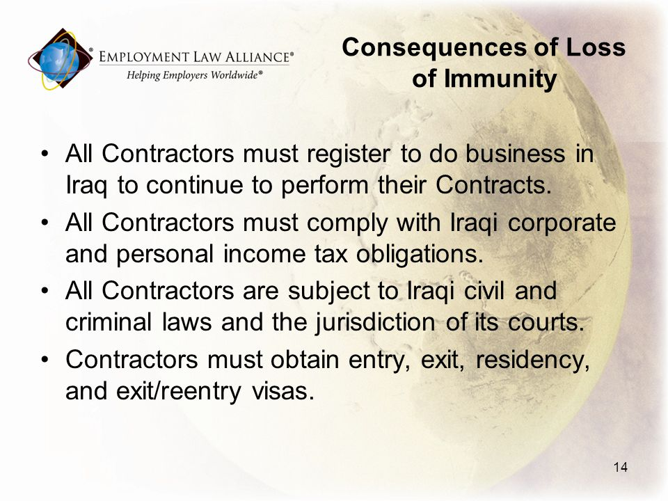Consequences of Loss of Immunity All Contractors must register to do business in Iraq to continue to perform their Contracts.