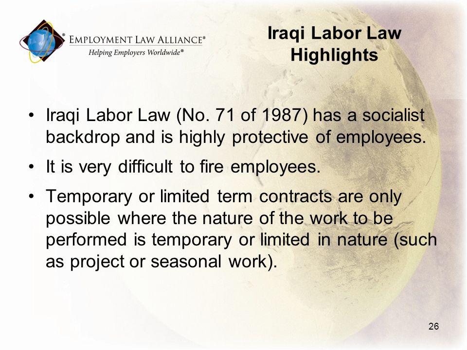 Iraqi Labor Law Highlights Iraqi Labor Law (No.