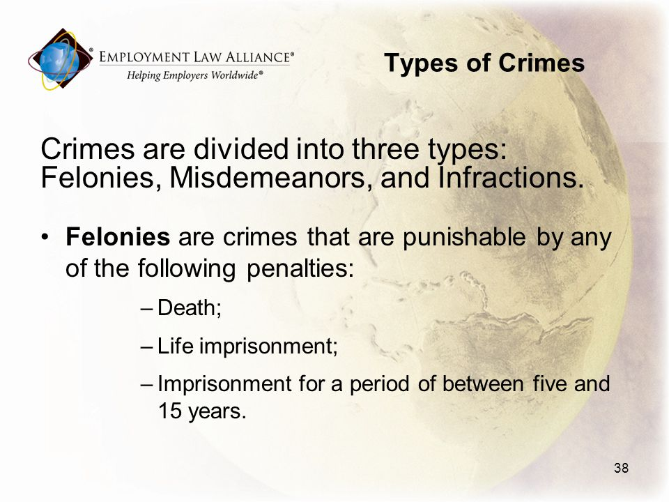 Types of Crimes Crimes are divided into three types: Felonies, Misdemeanors, and Infractions.