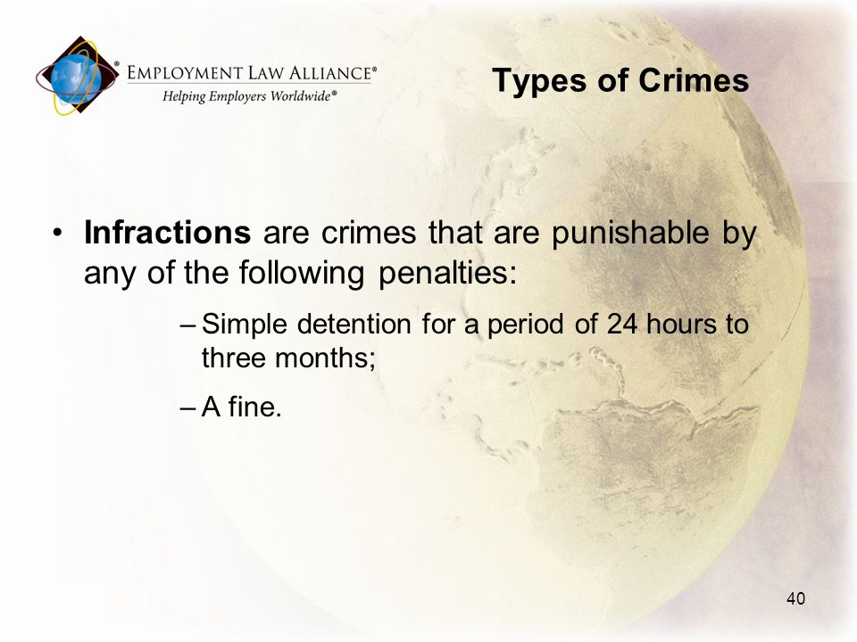 Types of Crimes Infractions are crimes that are punishable by any of the following penalties: –Simple detention for a period of 24 hours to three months; –A fine.