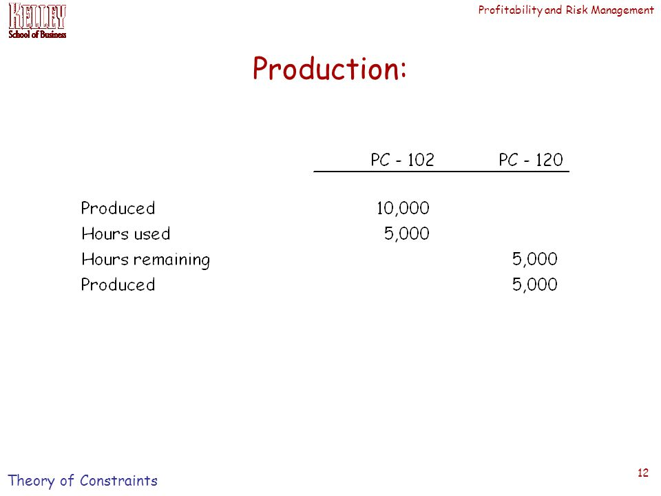 Profitability and Risk Management 12 Production: Theory of Constraints
