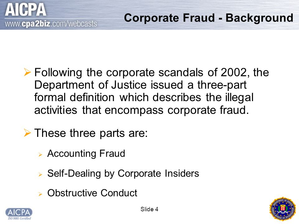 Slide 35 Corporate Fraud Investigations  At least 16 cases with losses > $1 Billion  50 cases with losses > $100 Million  Since January 2002 – 187 executives charged with corporate fraud violations.