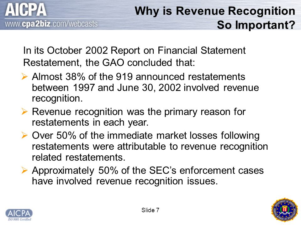 Slide 28 Typical Scenario  In far too many cases, accounting fraud began as a one time act to help meet the quarterly revenue targets.