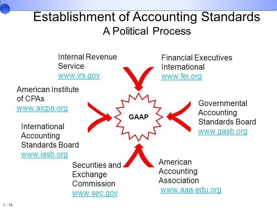 1 - 14 Establishment of Accounting Standards A Political Process GAAP Internal Revenue Service www.irs.gov www.irs.gov American Institute of CPAs www.
