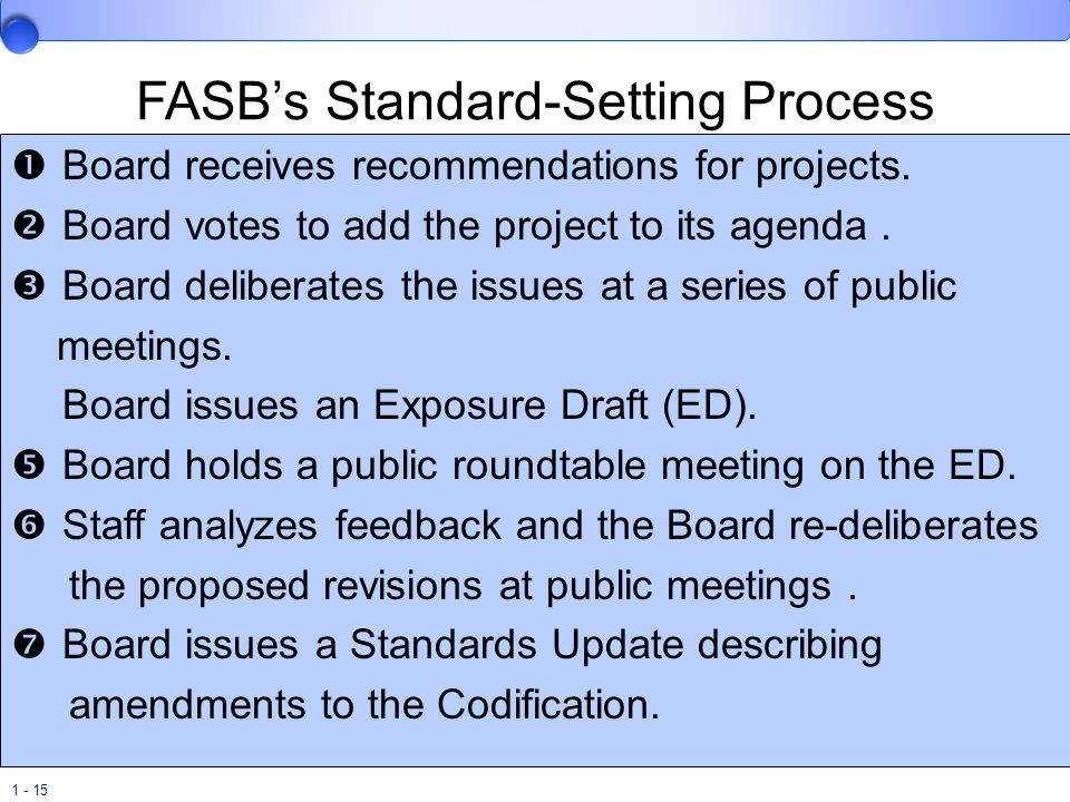 1 - 15 FASB's Standard-Setting Process  Board receives recommendations for projects.  Board votes to add the project to its agenda.  Board delibera