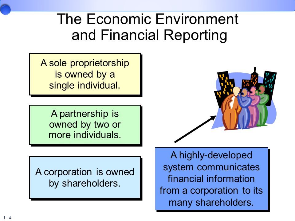 1 - 4 The Economic Environment and Financial Reporting A sole proprietorship is owned by a single individual. A partnership is owned by two or more in