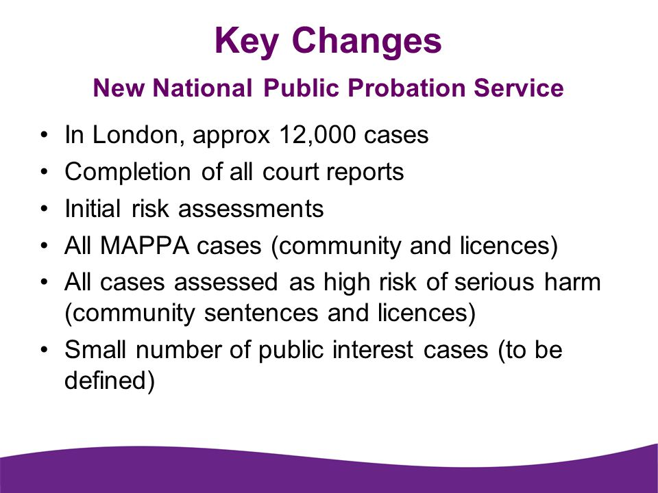 Key Changes New National Public Probation Service In London, approx 12,000 cases Completion of all court reports Initial risk assessments All MAPPA cases (community and licences) All cases assessed as high risk of serious harm (community sentences and licences) Small number of public interest cases (to be defined)