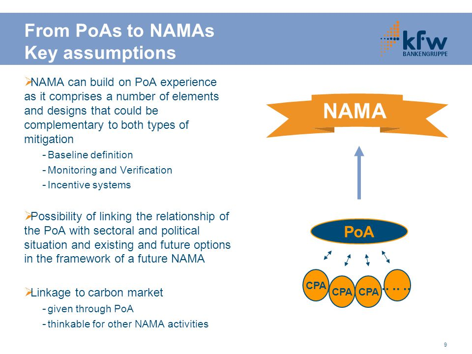 9 From PoAs to NAMAs Key assumptions  NAMA can build on PoA experience as it comprises a number of elements and designs that could be complementary to both types of mitigation - Baseline definition - Monitoring and Verification - Incentive systems  Possibility of linking the relationship of the PoA with sectoral and political situation and existing and future options in the framework of a future NAMA  Linkage to carbon market - given through PoA - thinkable for other NAMA activities PoA CPA......
