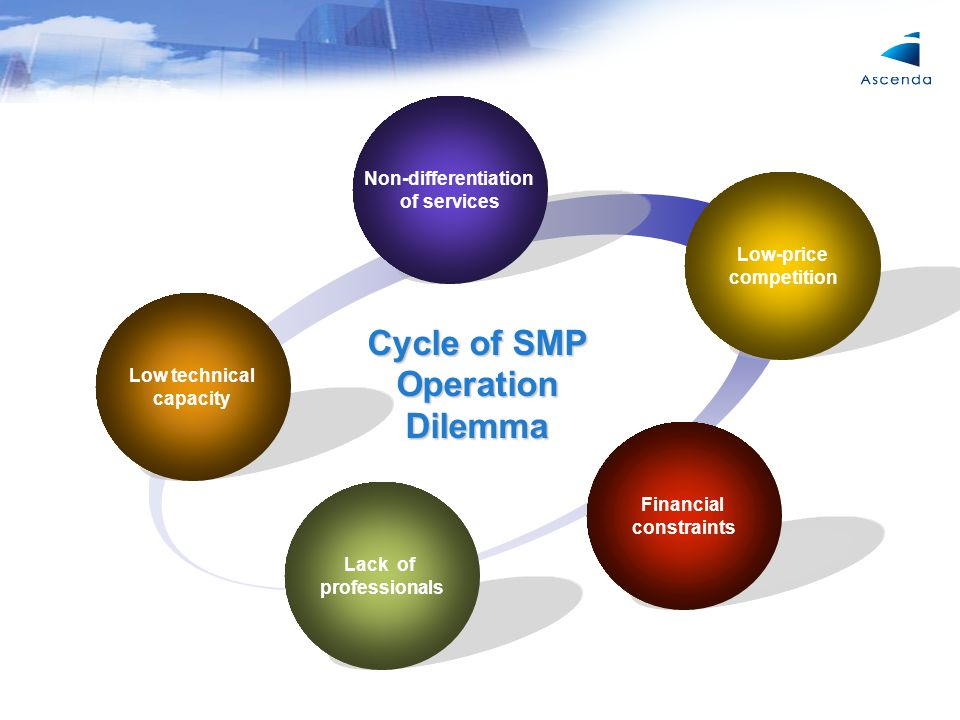 Low technical capacity Non-differentiation of services Low-price competition Lack of professionals Financial constraints Cycle of SMP Operation Dilemma