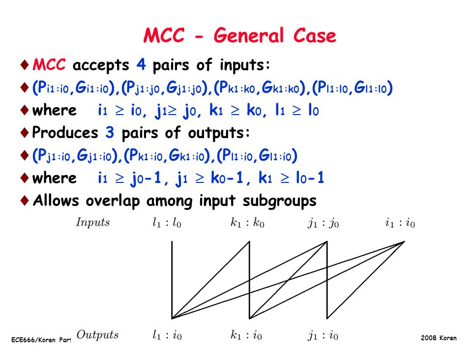 Copyright 2008 Koren ECE666/Koren Part.5c.6 MCC - General Case  MCC accepts 4 pairs of inputs:  (P i 1 :i 0,G i 1 :i 0 ),(P j 1 :j 0,G j 1 :j 0 ),(P