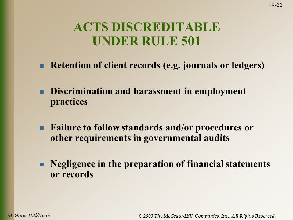 McGraw-Hill/Irwin © 2003 The McGraw-Hill Companies, Inc., All Rights Reserved. 19-22 ACTS DISCREDITABLE UNDER RULE 501 Retention of client records (e.