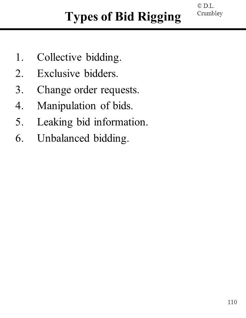 © D.L. Crumbley 110 Types of Bid Rigging 1.Collective bidding. 2.Exclusive bidders. 3.Change order requests. 4.Manipulation of bids. 5.Leaking bid inf