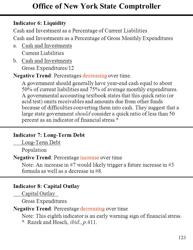 123 Office of New York State Comptroller Indicator 6: Liquidity Cash and Investment as a Percentage of Current Liabilities Cash and Investments as a P