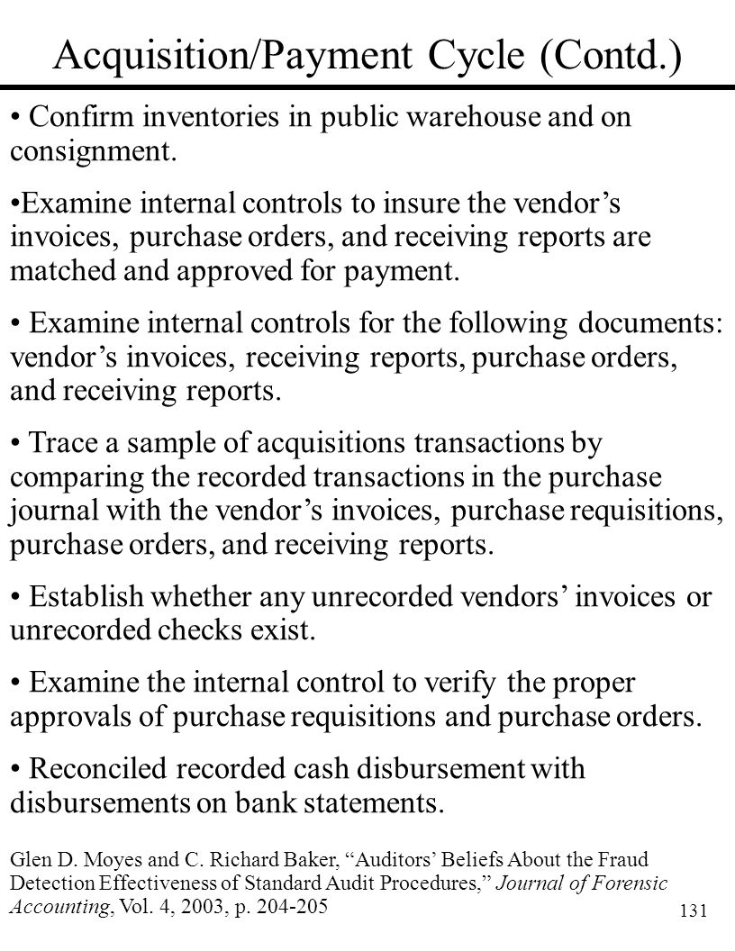 131 Acquisition/Payment Cycle (Contd.) Confirm inventories in public warehouse and on consignment. Examine internal controls to insure the vendor's in
