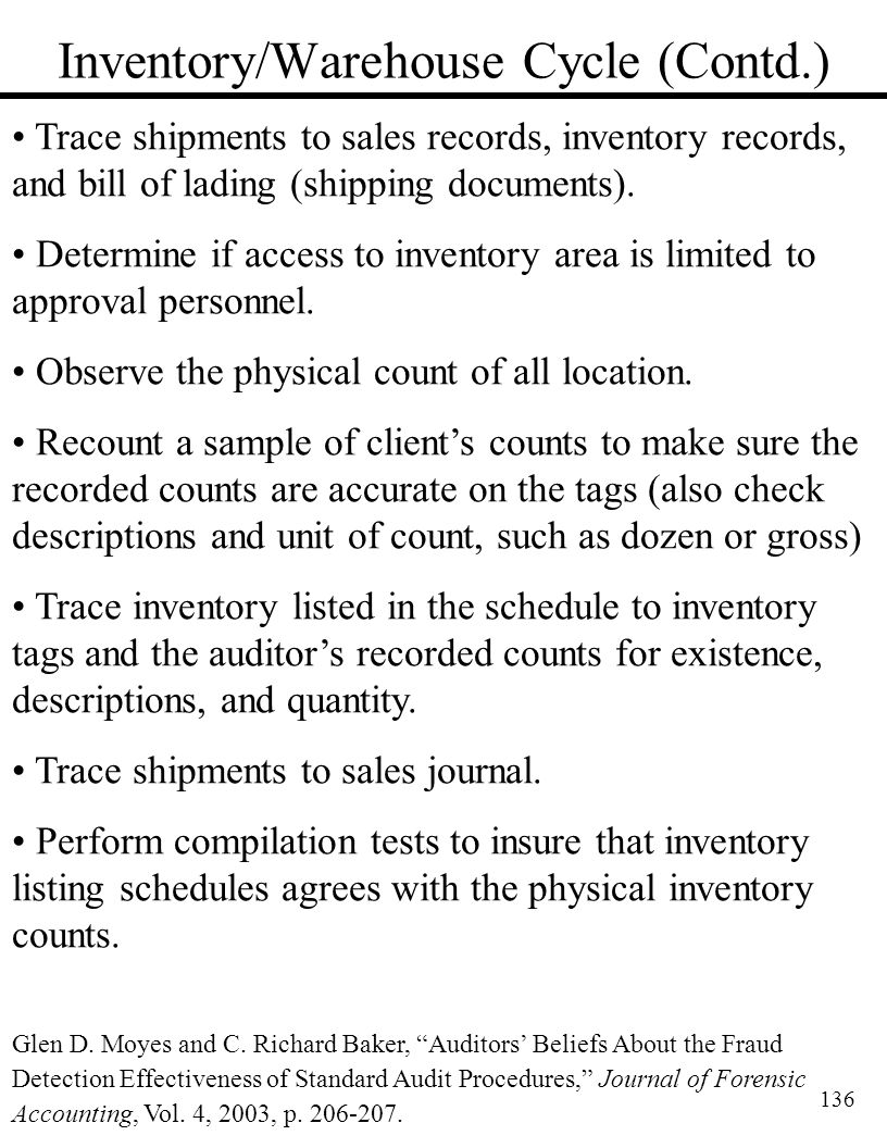 136 Inventory/Warehouse Cycle (Contd.) Trace shipments to sales records, inventory records, and bill of lading (shipping documents). Determine if acce