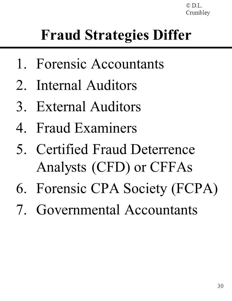 © D.L. Crumbley 30 Fraud Strategies Differ 1.Forensic Accountants 2.Internal Auditors 3.External Auditors 4.Fraud Examiners 5.Certified Fraud Deterren