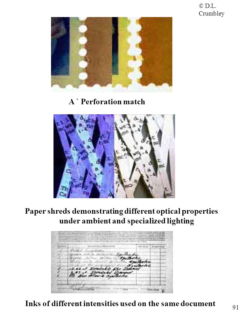 © D.L. Crumbley 91 A ` Perforation match Paper shreds demonstrating different optical properties under ambient and specialized lighting Inks of differ