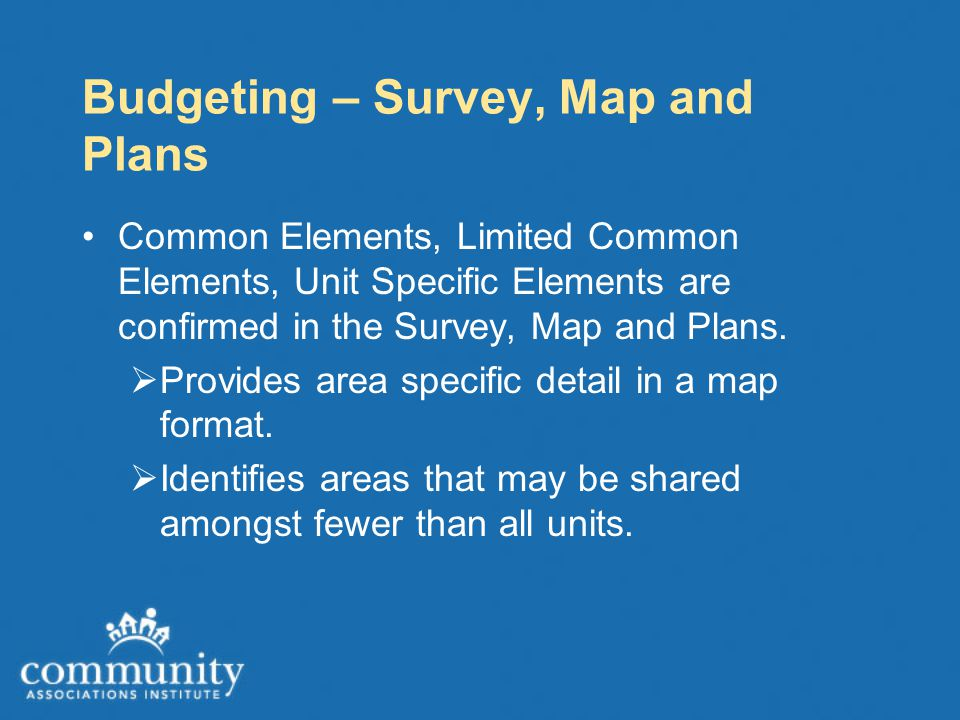 Budgeting – Survey, Map and Plans Common Elements, Limited Common Elements, Unit Specific Elements are confirmed in the Survey, Map and Plans.