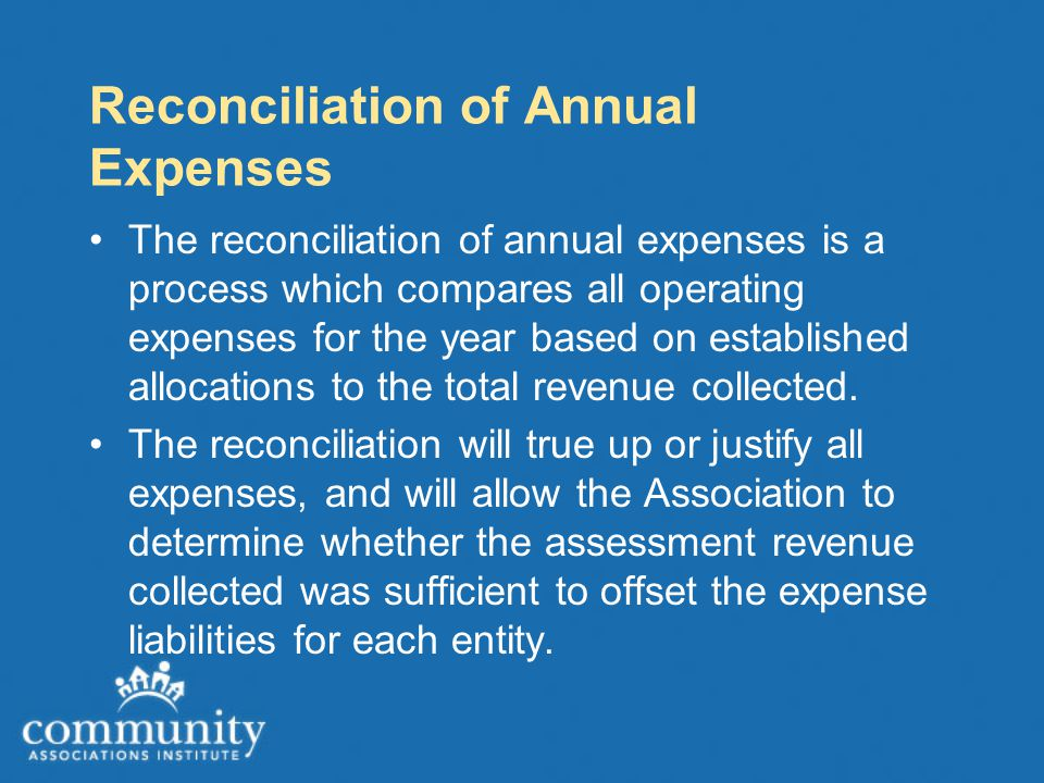 Reconciliation of Annual Expenses The reconciliation of annual expenses is a process which compares all operating expenses for the year based on established allocations to the total revenue collected.