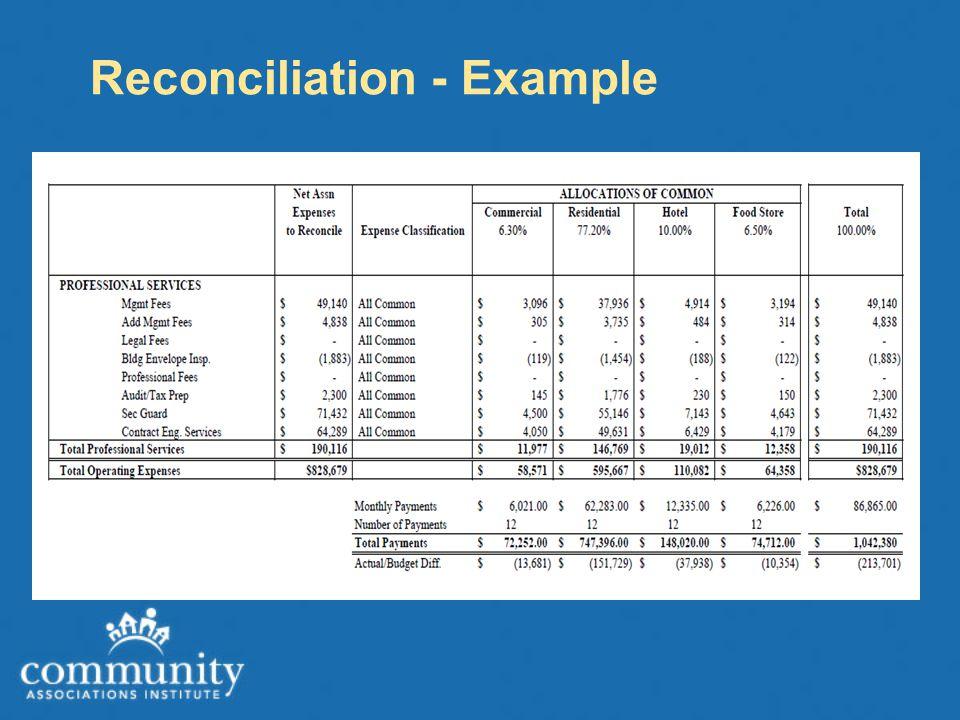 Reconciliation - Example