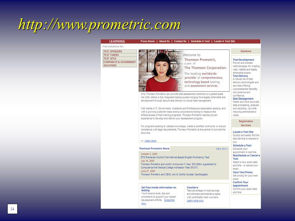 http://www.prometric.com 14