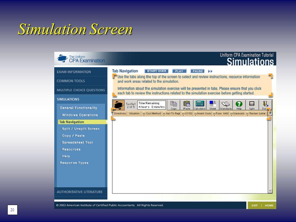 Simulation Screen 20