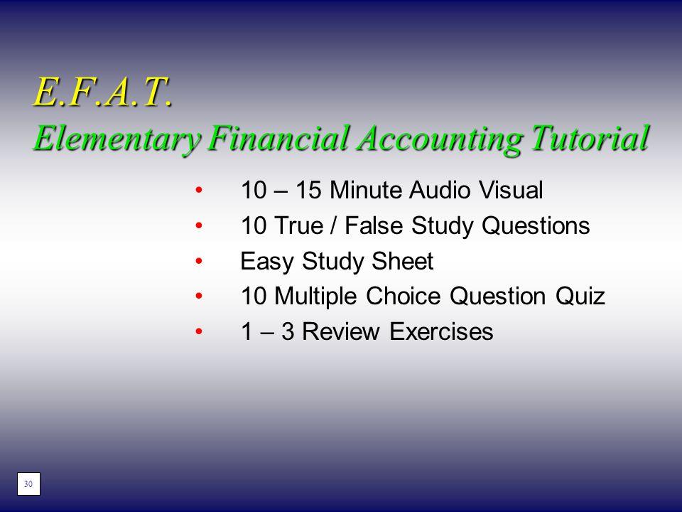 10 – 15 Minute Audio Visual 10 True / False Study Questions Easy Study Sheet 10 Multiple Choice Question Quiz 1 – 3 Review Exercises E.F.A.T. Elementa