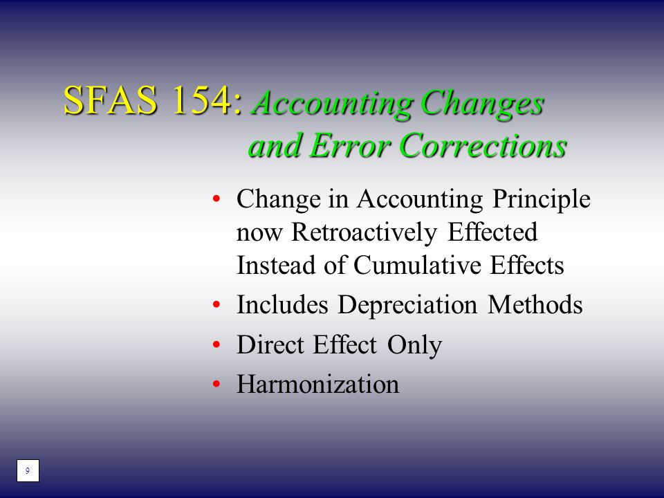 SFAS 154: Accounting Changes and Error Corrections Change in Accounting Principle now Retroactively Effected Instead of Cumulative Effects Includes De