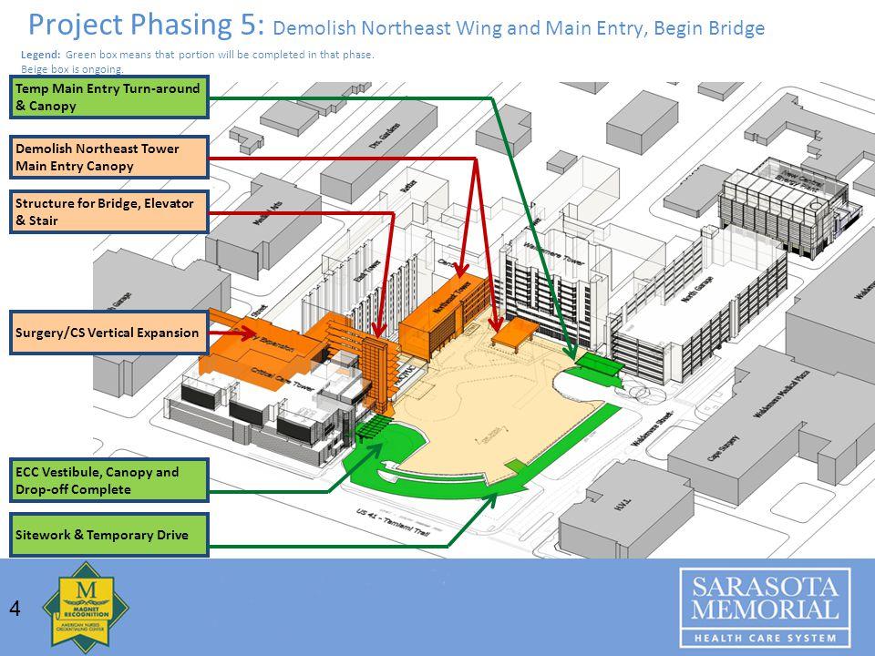 Project Phasing 5: Demolish Northeast Wing and Main Entry, Begin Bridge Sitework & Temporary Drive Temp Main Entry Turn-around & Canopy ECC Vestibule,
