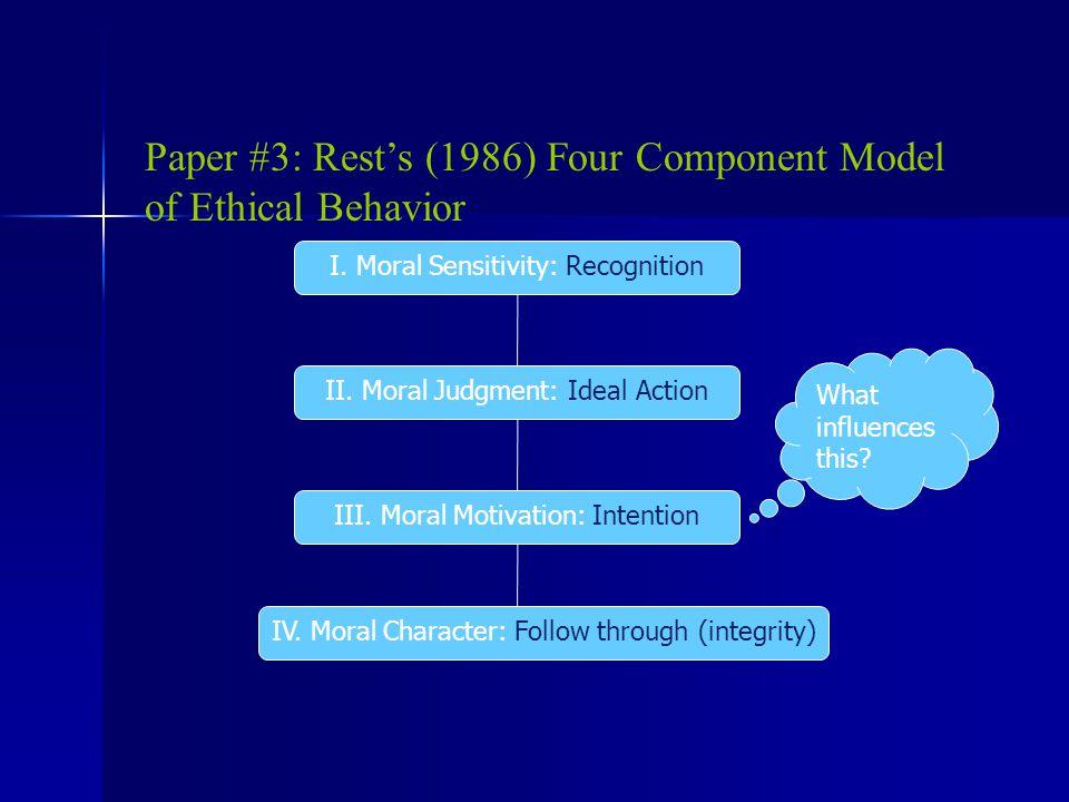 Paper #3: Rest's (1986) Four Component Model of Ethical Behavior I.