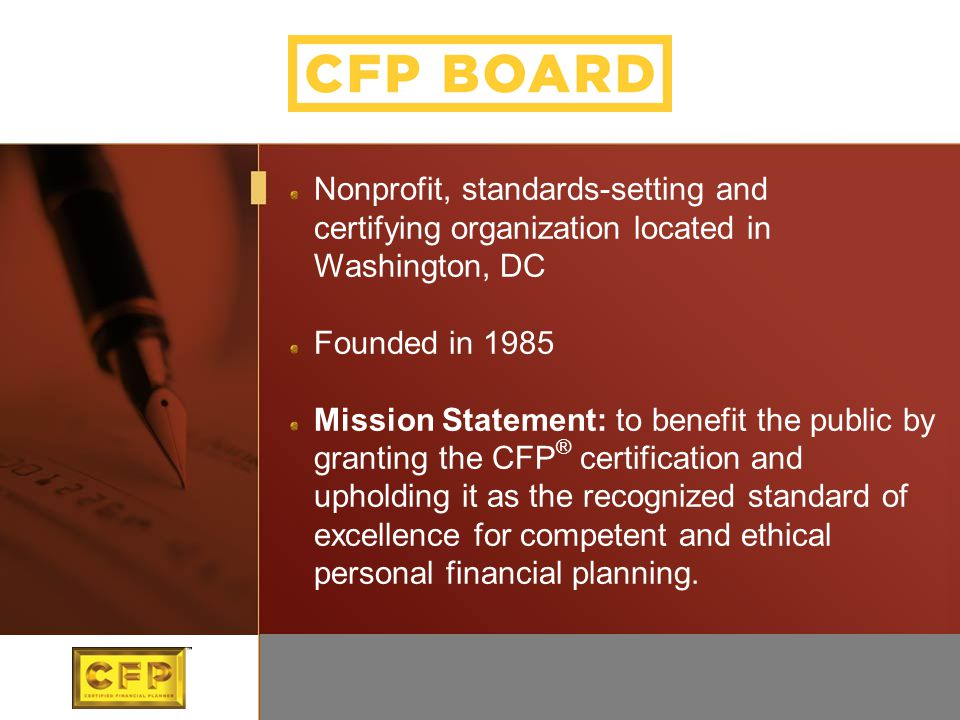 Nonprofit, standards-setting and certifying organization located in Washington, DC Founded in 1985 Mission Statement: to benefit the public by grantin